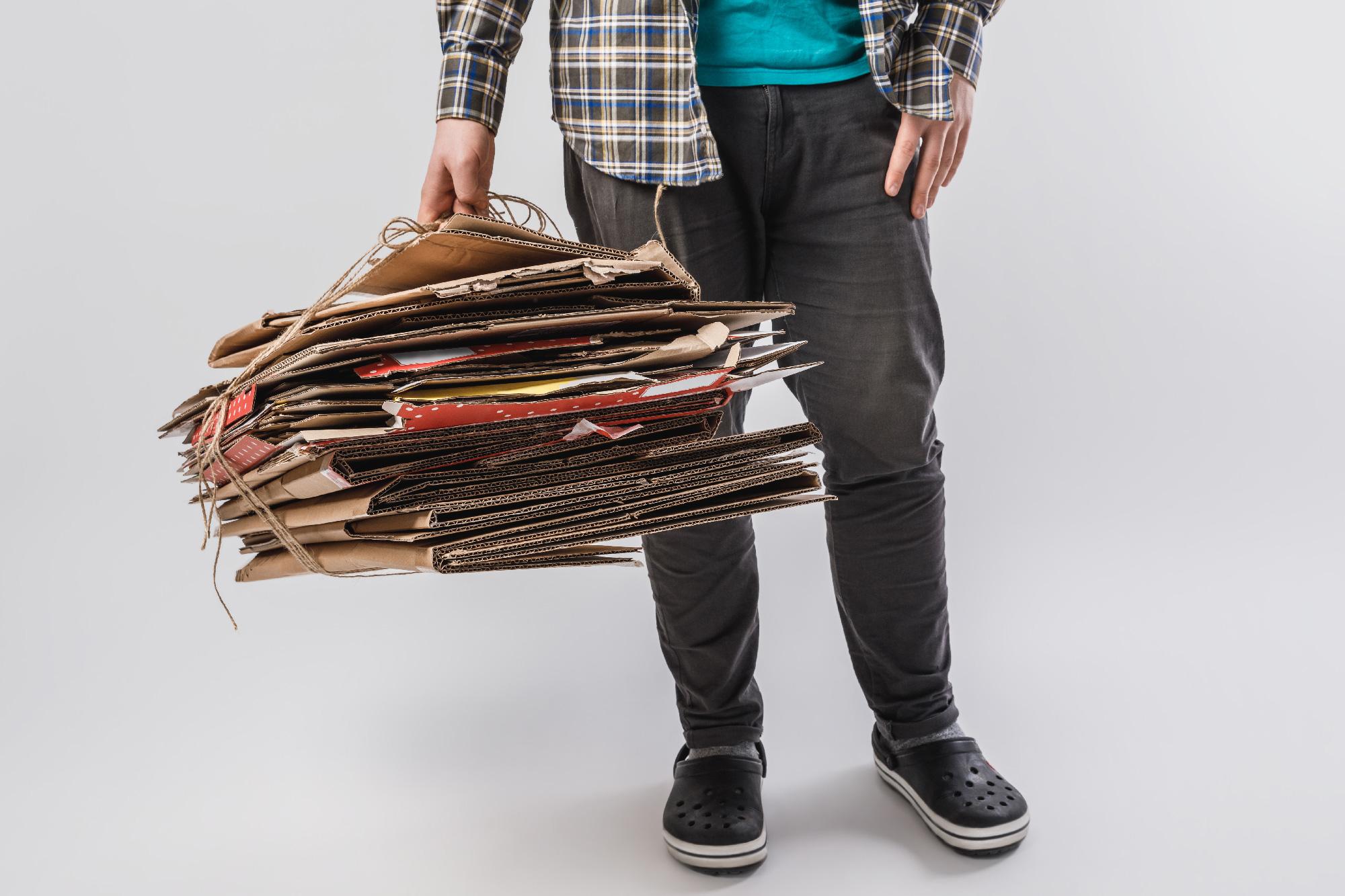 holding cardboard