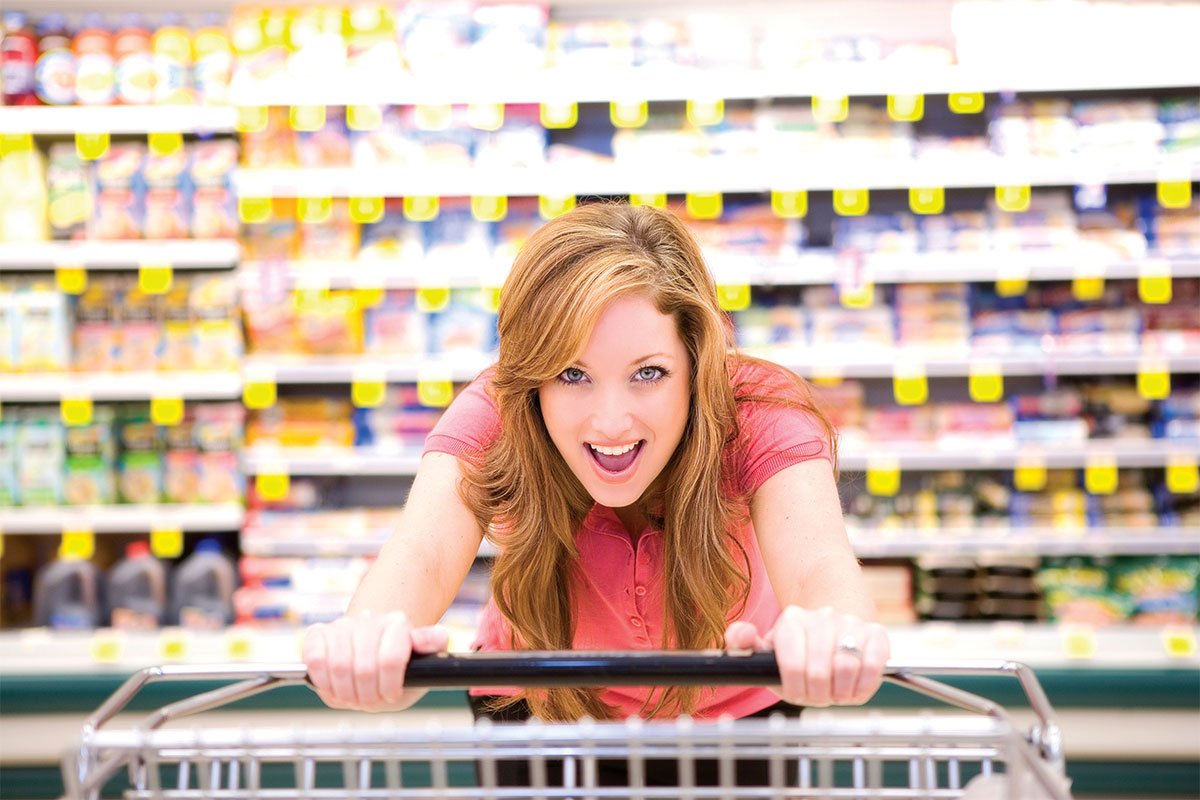 shopper pushing trolley